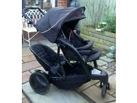 Slim double pushchair pram, Phil and Teds