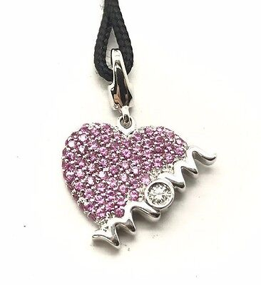 """Sterling 925 Pink Sapphire / CZ Cluster Heart Mom Love Black Rope Necklace 18"""""""