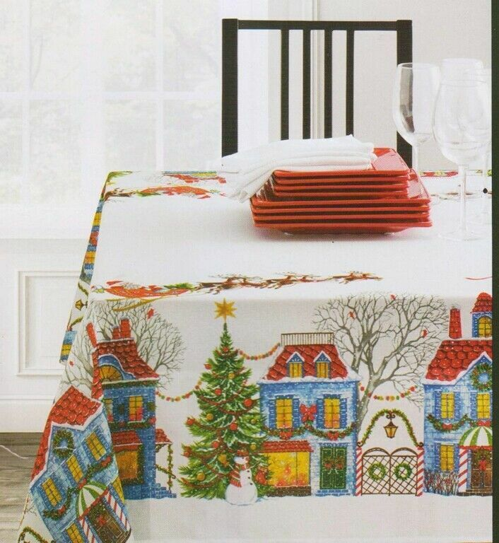 Christmas Village Tablecloth Jacquard Textured Printed Easy