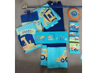 Next Little digger Duvet cover, lamp, rug, curtains,clock,picture, canvas, light shade and stickers.