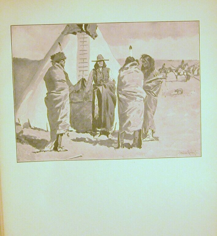 AN 1898 INDIAN VILLAGE ORIGINAL PRINT BY FREDRIC REMINGTON WESTERN PRINT