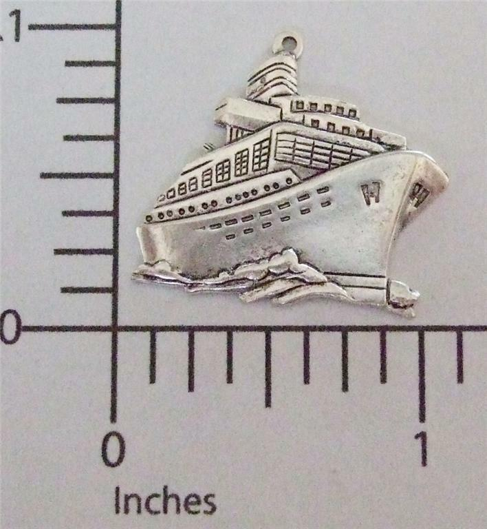 57894        Matte Silver Oxidized Cruise Ship Charm Jewelry Finding