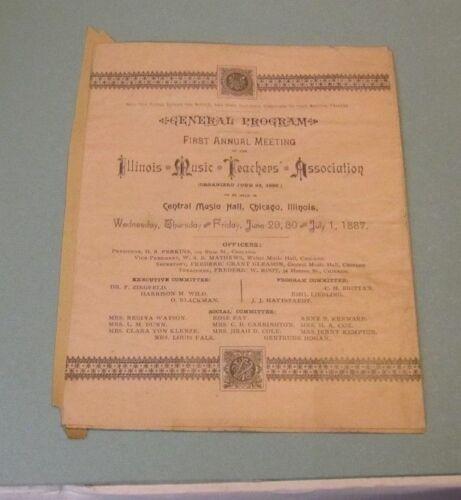 1887 Illinois Music Teachers Association First Annual Meeting Program HS Perkins
