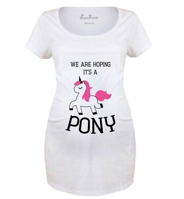 Pregnancy Shirts Maternity T shirts Tops Tunic Hoping Its A Pony Funny -