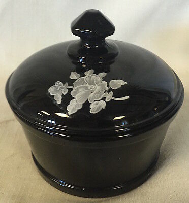Round Covered Butter Dish Tub - Black Glass w/ White Floral