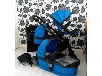 Icandy Peach 3 Cobalt blue Double buggy Twin pram Carrycot I candy