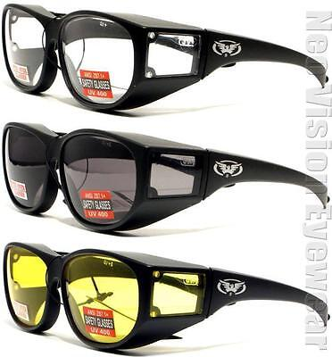 Global Vision 3 Escort Safety Glasses Sun Fit Over Most Clear Smoke Yellow Z87.1