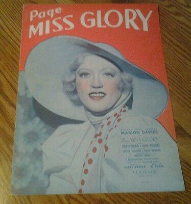 SHEET MUSIC PAGE MISS GLORY MARION DAVIES 1935