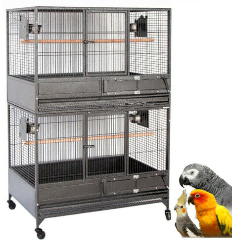 "54"" X-LARGE Double Stacker Breeding Multiple Parrot Flight Bird Rolling Cage"