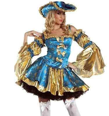 Ladies Sexy Lady Pirate Elaborate Costume 5 Pieces Size 10-12 Dress Hat Sleeves - Elaborate Costumes
