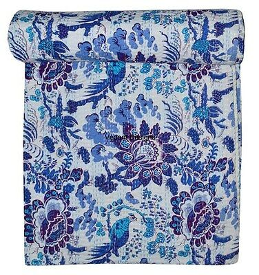 INDIAN HANDMADE NEW KANTHA QUILT BIRD PRINT TWIN SIZE BED SPREAD BED COVER BED