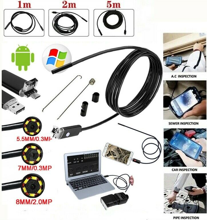1M 2M 5M USB Endoscope Borescope Inspection Snake Camera For Android PC Laptops