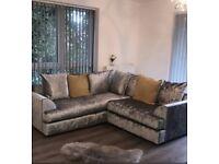 Crushed Velvet corner sofa for sale, open for offers.