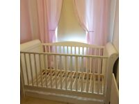 Babystyle white sleigh cot bed