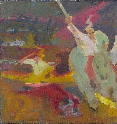 """Russischer Realist Expressionist Öl Leinwand """"Kosaken"""" 57x55 cm"""