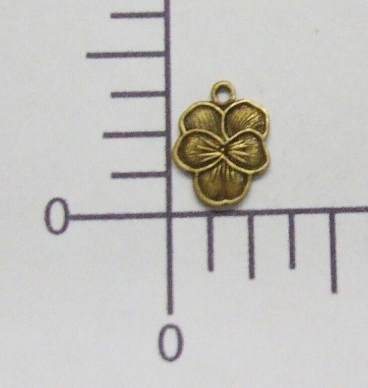 30713         6 Pc Brass Oxidized Pansy Flower Jewelry Finding Charm
