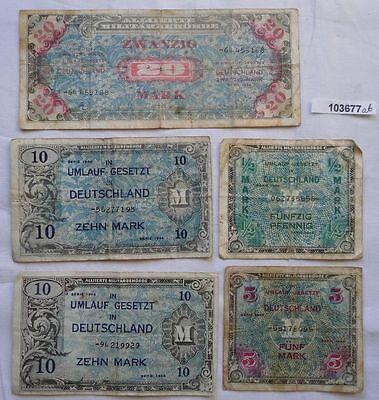 5 Banknoten 1/2 bis 20 Mark alliierte Besatzung 1944 (103677)