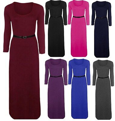 Damen Belted Long Sleeve Plain Stretch-Jersey-Maxikleid Plus Size Maxi (Long Sleeve Jersey-kleid)