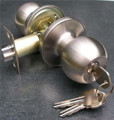 STAINLESS STEEL KEYED ENTRANCE MORTICE DOOR KNOB SET with INTERNAL LOCK
