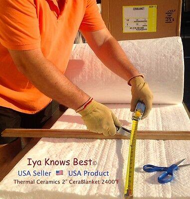 2 Ceramic Fiber Insulation Blanket 2400f Cerablanket 8 Thermal Ceramic 30x24
