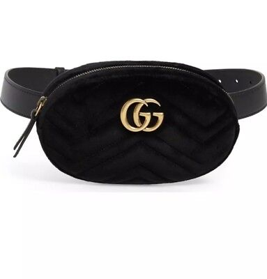 Gucci 100% Authentic GG Marmont Metalasse Black Velvet Belt Bag Brand New!
