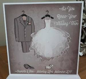 Handmade Personalised Wedding Vow Renewal Card Vintage Design