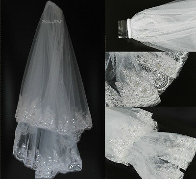 New 2T White Elbow Beaded Sequins Edge Bridal Wedding Bride Veil With