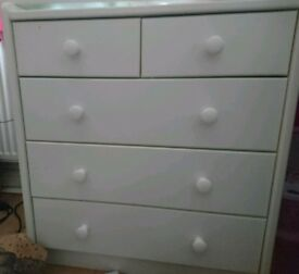 White, solid children's (small) set of drawers