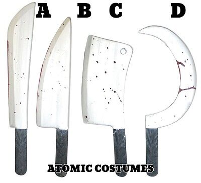 Bloody Knife (Costume Knife Sickle Meat Cleaver Machete Bloody Silver Blade Prop Realistic)