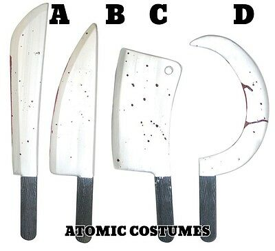 Bloody Knife Prop (Costume Knife Sickle Meat Cleaver Machete Bloody Silver Blade Prop Realistic)