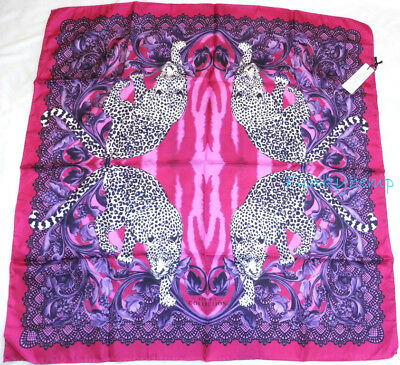 Authentic $330 Versace Collection Carre Fuxia Tiger Silk Scarf 36