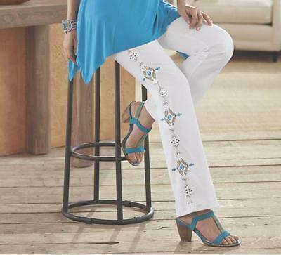Womens Church Vacation Cruise Embroidery White Jean Pant Southwest Plus 20W 2X