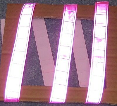 Pink Gloss Sew On Reflective Tape Pvc 3x1