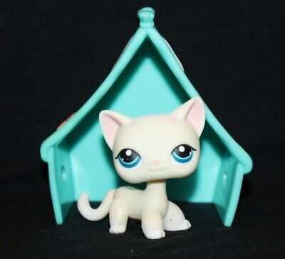 AUTHENTIC Littlest Pet Shop LPS Shorthair IVORY CAT #410 Cream White Blue Eyes
