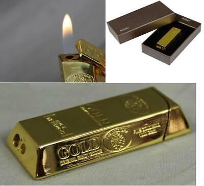 Goldbarren Feuerzeug - edles Gasfeuerzeug mit Geschenk Box in Leder Optik