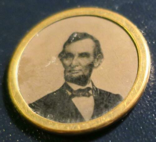 1864 Abe Lincoln for President Ferrotype, tintype photo stick-pin,BRASS FRAME