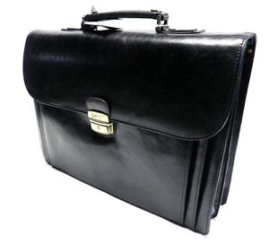 sacoche noir russell nash cuir pour homme sac main attache case serviette neuf ebay. Black Bedroom Furniture Sets. Home Design Ideas