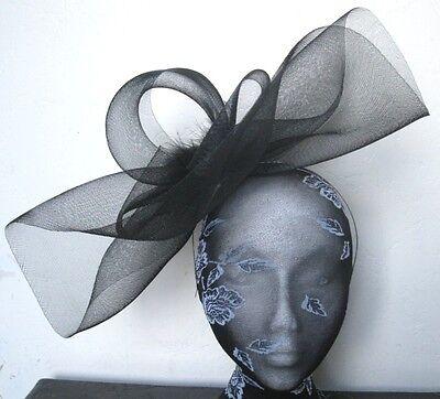 black feather fascinator millinery burlesque headband wedding hat hair piece 1