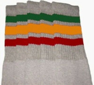 "25"" KNEE HIGH GREY tube socks with GREEN/GOLD/RED stripes style 1 (25-55) ](Green High Socks)"