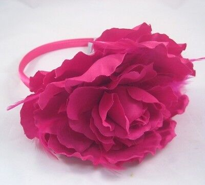 """12 Wholesale 5"""" Fuscia Flower Headbands With Feathers New With Tags #H2011-12"""