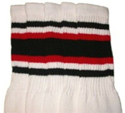 """30"""" OVER THE KNEE WHITE tube socks with BLACK/RED stripes style 4"""
