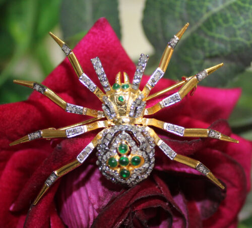 1.80ct Rose Cut Diamond 925 Silver Antique Victorian look Emerald Brooch Pin