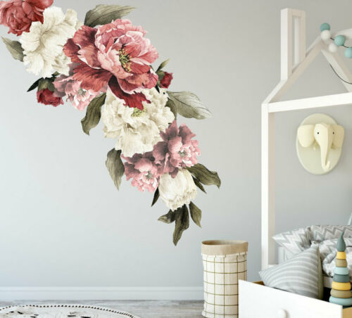 Home Decoration - Peony Flowers Wall Sticker Art Removable Nursery Decals Kids Room Home Decor DIY