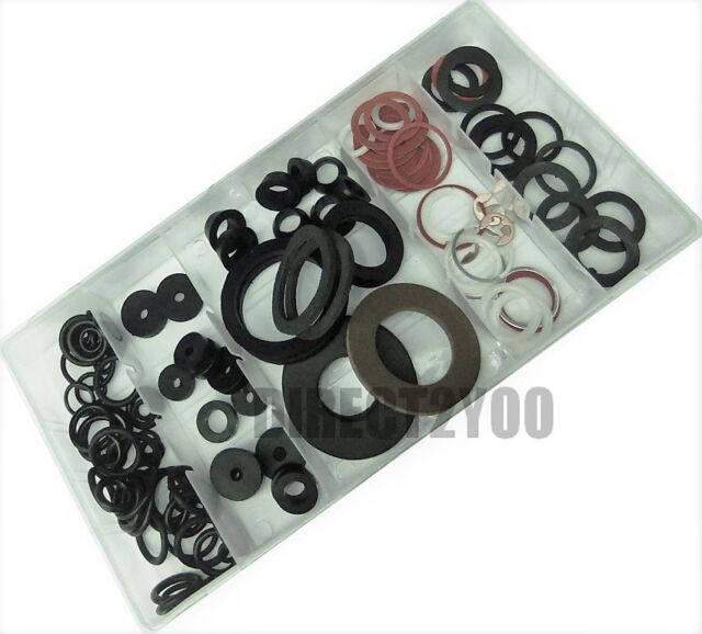 125 Pcs Complete Tap Ring Washer Assortment Set Red Fibre Rubber ...