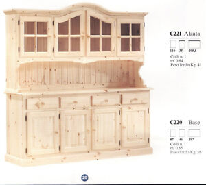 Credenza rustica legno credenze vetrina vetrine cristalliera rustico arte povera ebay - Vetrina per cucina ...