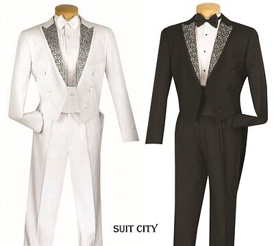 Men's Formal Tail Tuxedo Prom Wedding Groom Suit With Free Bow Tie & - Tux With Tails