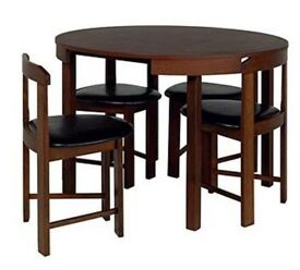 Hygena Alena Circular Solid Wood Dining Table & 4 Chairs - Walnut Solid Wood Price further reduced