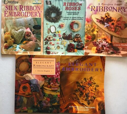 5 Ribbonry Pattern Books Ribbon Roses Embroidery Silk Elegant Flower Ribboncraft