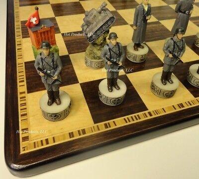 WORLD WAR 2 US vs GERMANY CHESS Set W/ EBONY & BIRDSEYE MAPLE WOOD BOARD 17