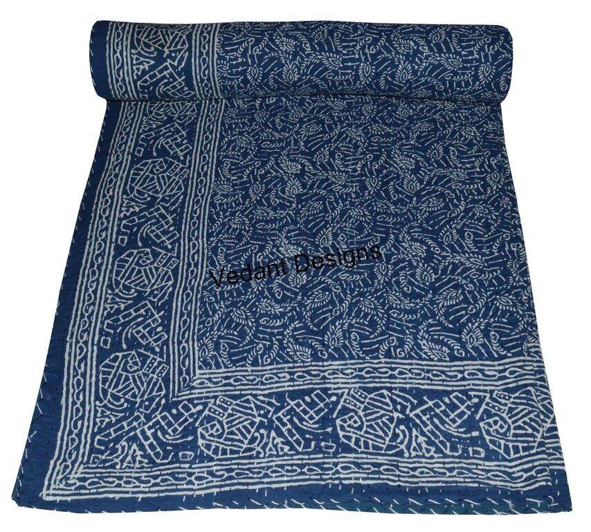 Indigo Blue Paisley Queen Size Hand Block Printed Kantha Qui